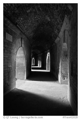 Gallery in the Roman arena. Arles, Provence, France (black and white)