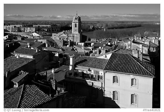 View of the city center with Rhone River. Arles, Provence, France (black and white)