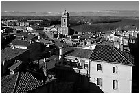 View of the city center with Rhone River. Arles, Provence, France ( black and white)