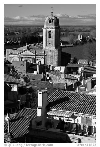Church and rooftops. Arles, Provence, France (black and white)