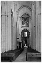 Interior nave of St Trophime church. Arles, Provence, France ( black and white)