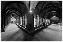 Galleries, Saint Trophimus cloister. Arles, Provence, France (black and white)