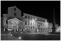 Place de la Republique and Eglise Saint Trophime at night. Arles, Provence, France (black and white)