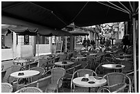Cafe outdoor terrace, Cours Mirabeau. Aix-en-Provence, France ( black and white)