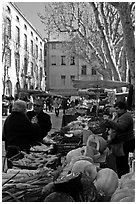 Vegetable market. Aix-en-Provence, France ( black and white)