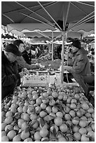 Fruit stall, place Richelme open-air market. Aix-en-Provence, France ( black and white)