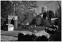 Tombs, mausoleums, and church, Alyscamps. Arles, Provence, France (black and white)