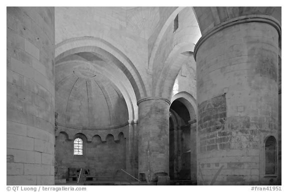 Romanesque interior of Saint Honoratus church, Alyscamps. Arles, Provence, France (black and white)