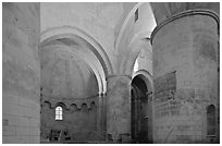 Romanesque interior of Saint Honoratus church, Alyscamps. Arles, Provence, France ( black and white)
