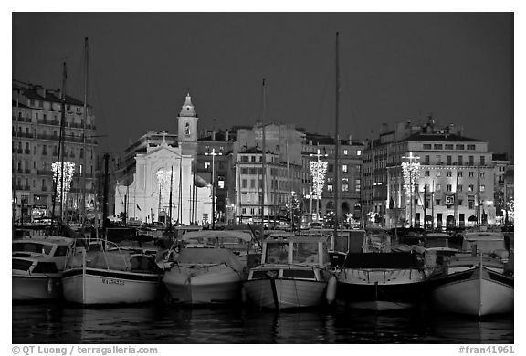 Yachts, church, and city at night, Vieux Port. Marseille, France (black and white)