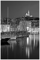 Old Harbor and Basilica Notre Dame de la Garde. Marseille, France (black and white)