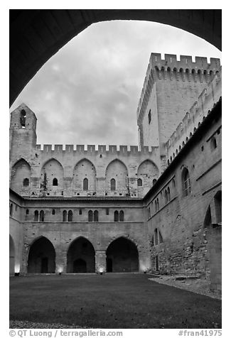 Inside Courtyard, Palace of the Popes. Avignon, Provence, France (black and white)