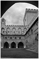 Inside Courtyard, Palace of the Popes. Avignon, Provence, France ( black and white)