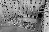 Courtyard of honnor from above, Papal Palace. Avignon, Provence, France ( black and white)