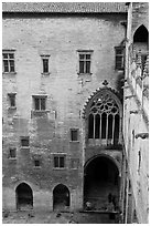 Inside the Palais des Papes. Avignon, Provence, France ( black and white)