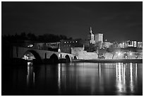 Avignon skyline at night with Papal Palace, Episcopal Ensemble and Avignon Bridge. Avignon, Provence, France ( black and white)