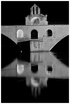 Chapel of Saint Nicholas on the St Benezet Bridge. Avignon, Provence, France (black and white)