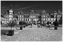 Cour du Cheval Blanc, Chateau de Fontainebleau. France ( black and white)
