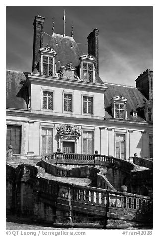 Staircase and Palace of Fontainebleau. France (black and white)