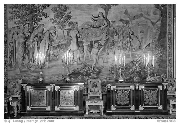 Furniture, lights, and tapestry, Chateau de Fontainebleau. France (black and white)