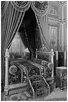 Emperor's room, Fontainebleau Palace. France ( black and white)