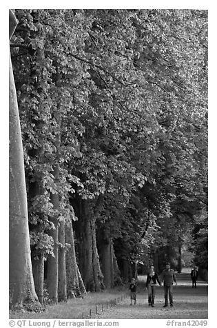 Family walking in gardens, Chateau de Fontainebleau. France (black and white)