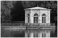 Pavillion and reflection, Palace of Fontainebleau. France ( black and white)