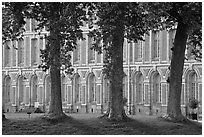 Trees and facade, Fontainebleau Palace. France ( black and white)