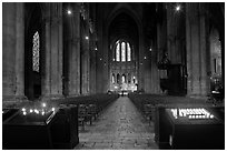 Candles and nave inside Cathedrale Notre-Dame de Chartres. France (black and white)