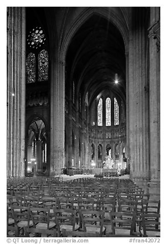 Transept crossing and stained glass, Chartres Cathedral. France (black and white)