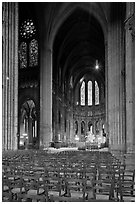 Transept crossing and stained glass, Chartres Cathedral. France ( black and white)
