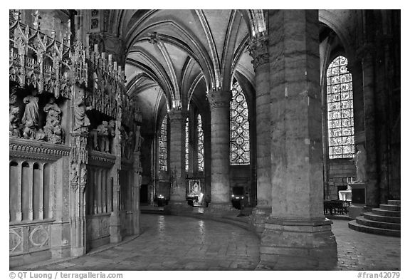 Ambulatory, chapel, and stained glass windows, Chartres Cathedral. France (black and white)