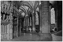Ambulatory, chapel, and stained glass windows, Chartres Cathedral. France ( black and white)