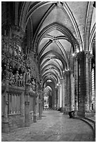 Sanctuary and Ambulatory, Cathedral of Our Lady of Chartres,. France (black and white)