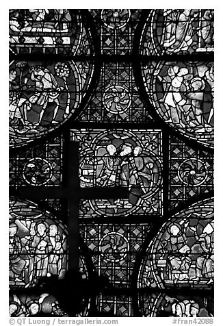 Stained glass window close-up, Cathedral of Our Lady of Chartres. France (black and white)
