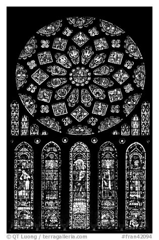 Set of rose window with five lancets called Rose of France, Chartres Cathedral. France (black and white)