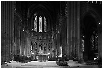Altar and apse with clerestory windows, Cathedral of Our Lady of Chartres. France ( black and white)