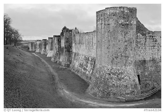 Ramparts, Provins. France (black and white)