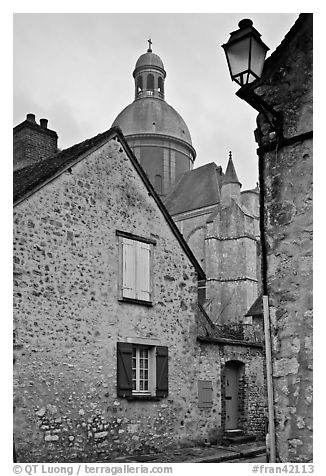 Stone houses and dome of Saint Quiriace Collegiate Church, Provins. France (black and white)