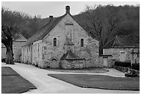 Cistercian Abbey of Fontenay. Burgundy, France (black and white)