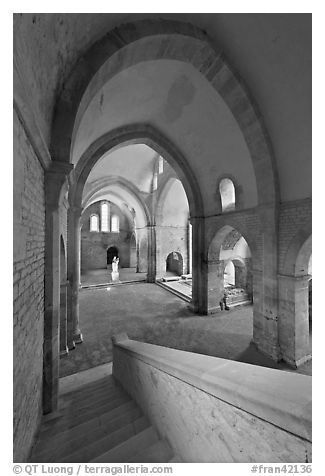 Church interior, Abbaye de Fontenay. Burgundy, France (black and white)