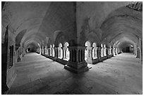 Wide view of cloister galleries, Fontenay Abbey. Burgundy, France (black and white)