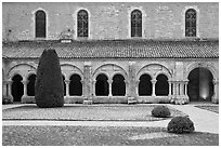 Cloister garden, Cistercian Abbey of Fontenay. Burgundy, France (black and white)