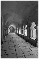 Cloister gallery, Fontenay Abbey. Burgundy, France (black and white)