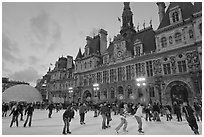 Hotel de Ville with Christmas ice ring. Paris, France (black and white)