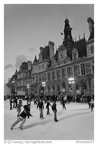 Holiday ice ring in front of the city hall. Paris, France (black and white)