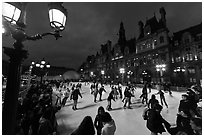 Skating rink by night, Hotel de Ville. Paris, France (black and white)