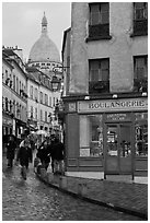 Boulangerie and Sacre-Coeur Basilic, Montmartre. Paris, France (black and white)