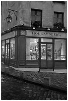 Boulangerie at dusk, Montmartre. Paris, France (black and white)
