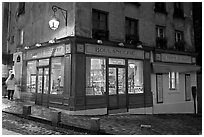 Bakery at dusk, Montmartre. Paris, France (black and white)